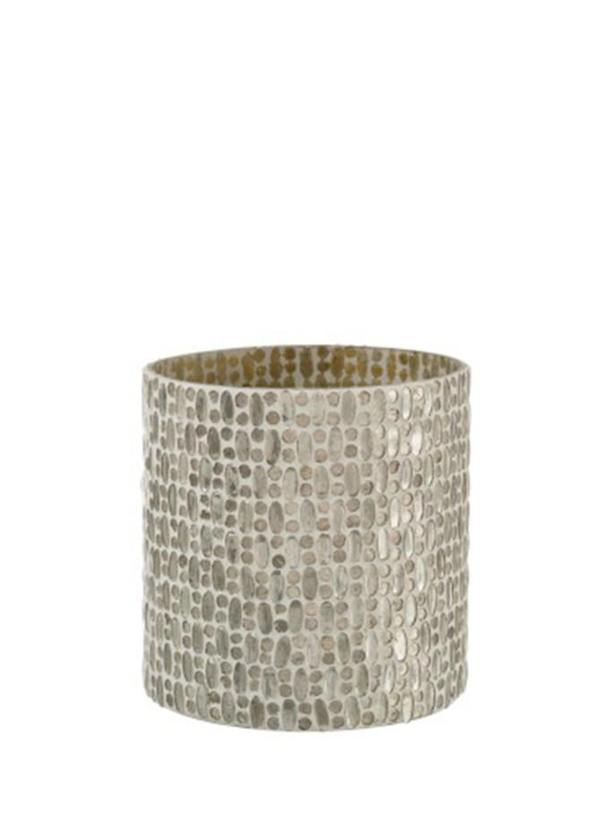 Windlicht Mozaïek Cilinder Glas Zilver/Wit Large