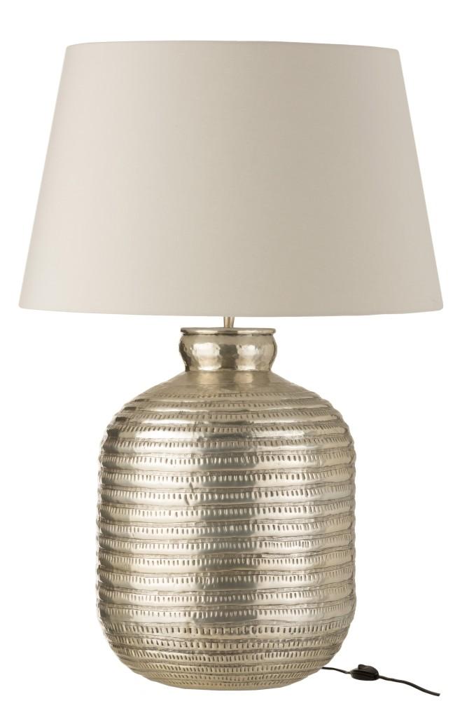 Lamp+Kap Rond Aluminium Grijs