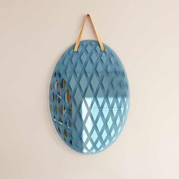 Ovum Mirror by Thomas Eurlings Coloured Glass with Patterned Mirror