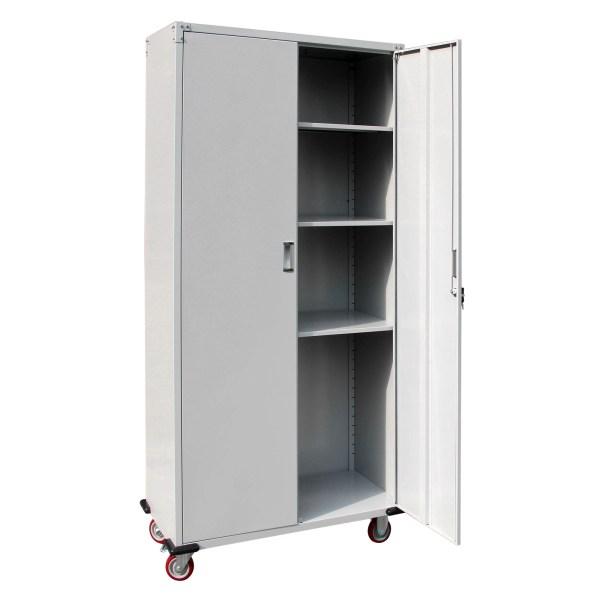 Metal Rolling Garage Tool Box Storage Cabinet Shelving Doors With 4 Shelves