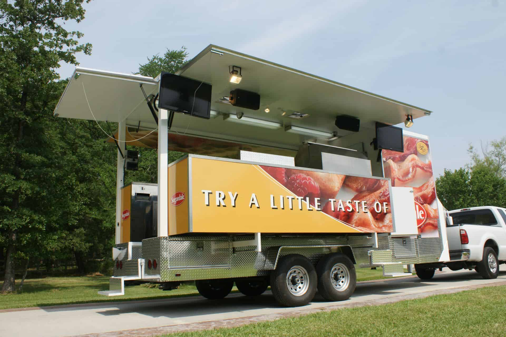 mobile kitchen trailer mini pendant lights for island experiential cooking - imagi-motive