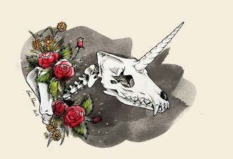 Imaginary Karin - Karin Persson unicorn wolf skull drawing