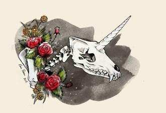 Imaginary Karin - Karin Persson unicorn wolf skull drawing