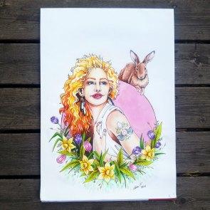 Imaginary Karin - spring goddess Ostara drawing