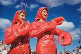 Two girls dressed as lobsters participate in the Lobster Festival in Rockland, Maine, September 1952.