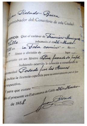 Francisco Domínguez Valle. Fusilado y enterrado en la fosa del cementerio de San José de Cádiz.