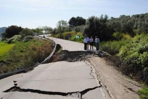 """Aspecto del """"Carril del Duende"""", en la CA-9111, que lleva un año cortado. Foto: Diputación de Cádiz"""