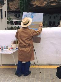 Casi una treintena de pintores participaron en el concurso, que llenó de pinceles las calles de Setenil.