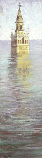 """""""Giralda arriada"""". Amalio pintó y representó a la Giralda en todos los materiales y situaciones imaginables."""