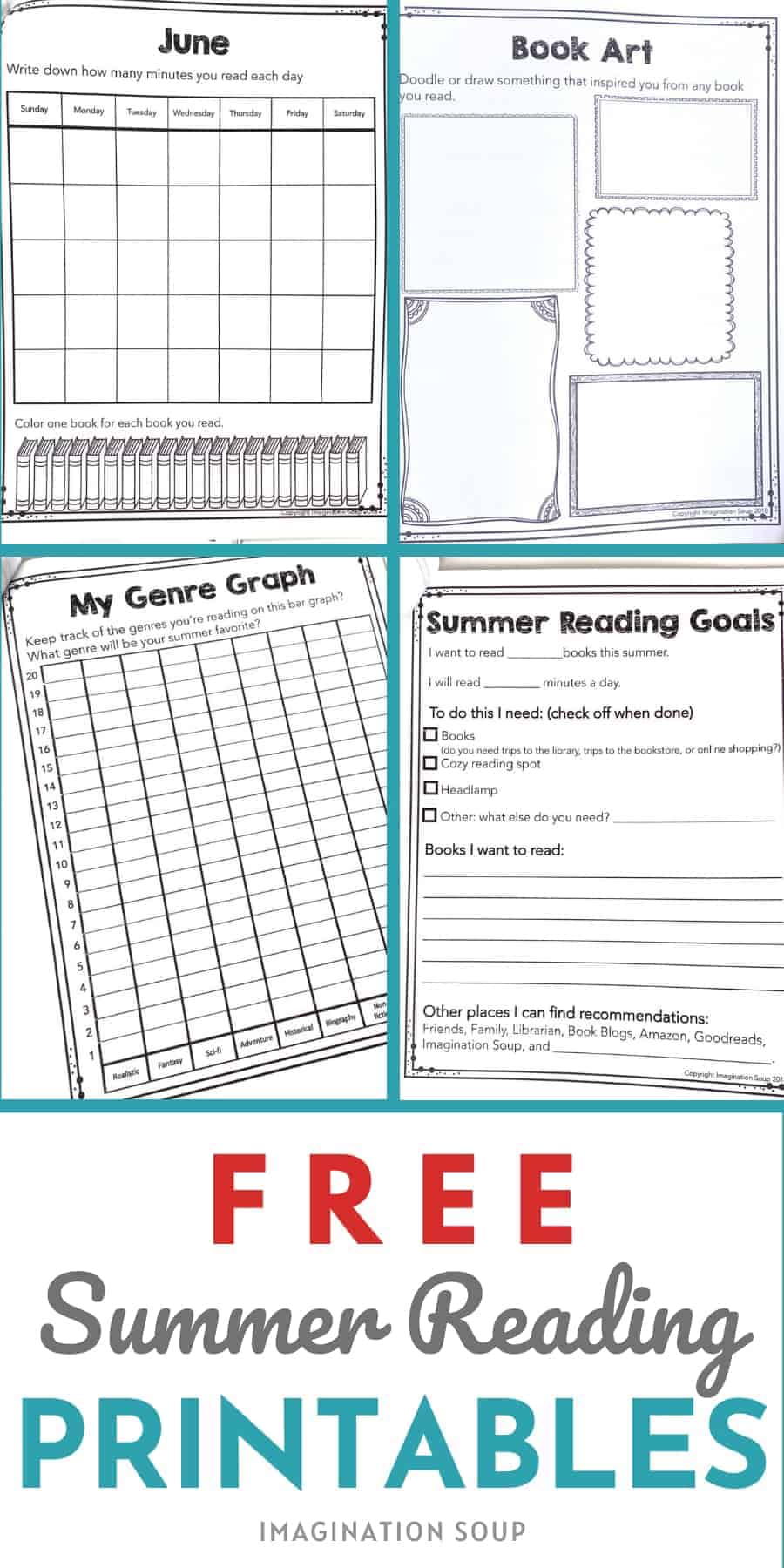 medium resolution of Free Summer Reading Printable Packet for Kids Ages 6 - 13