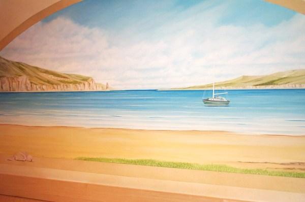 Hand Painted Beach Wall Murals