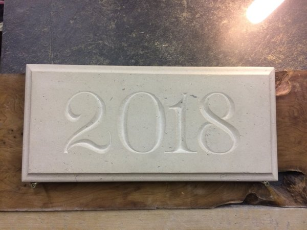 2018 Date Plaque Sign by Imagine Stone Stonemason in Cornwall