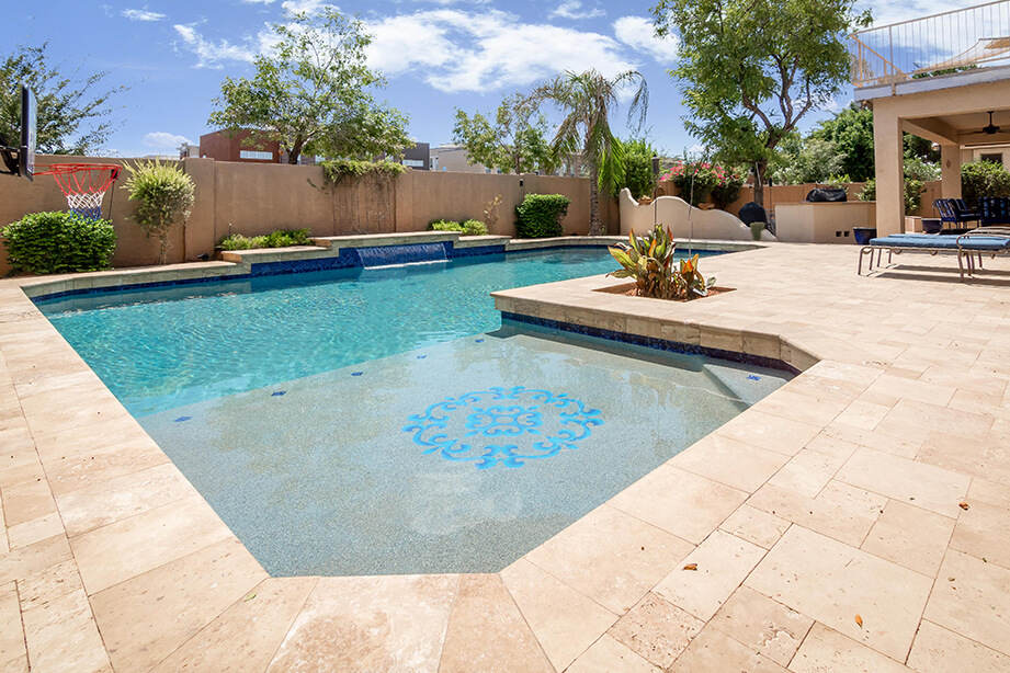 gilbert travertine paver pool deck