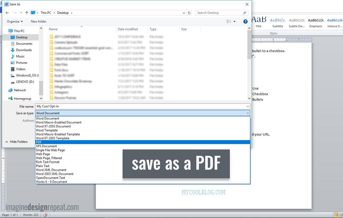 5 Steps to Make a PDF Checklist in Word | Imagine Design Repeat