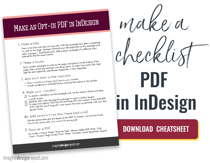 Checklist in InDesign