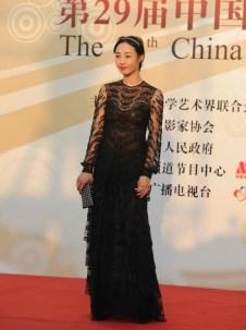 Bai Bai He in a sexy, sheer lace gown