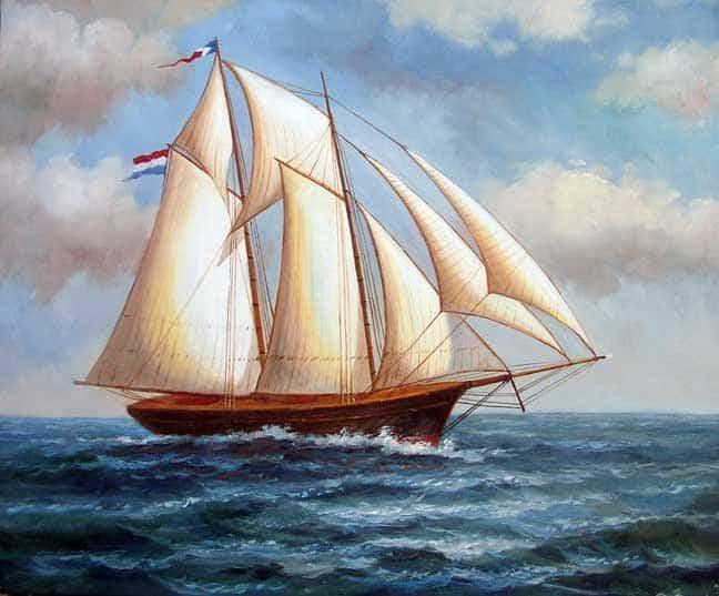 2-font-b-Masted-b-font-1800s-font-b-Sailing-b-font-Ship-Ocean-Seascape-Oil
