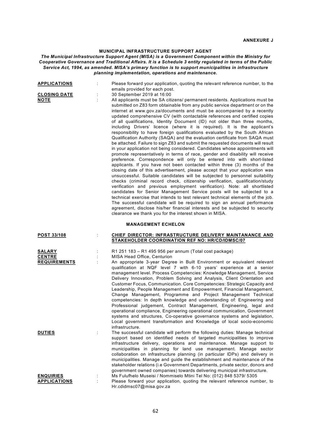 Municipal Infrastructure Support Agent Circular 33 Of 2019