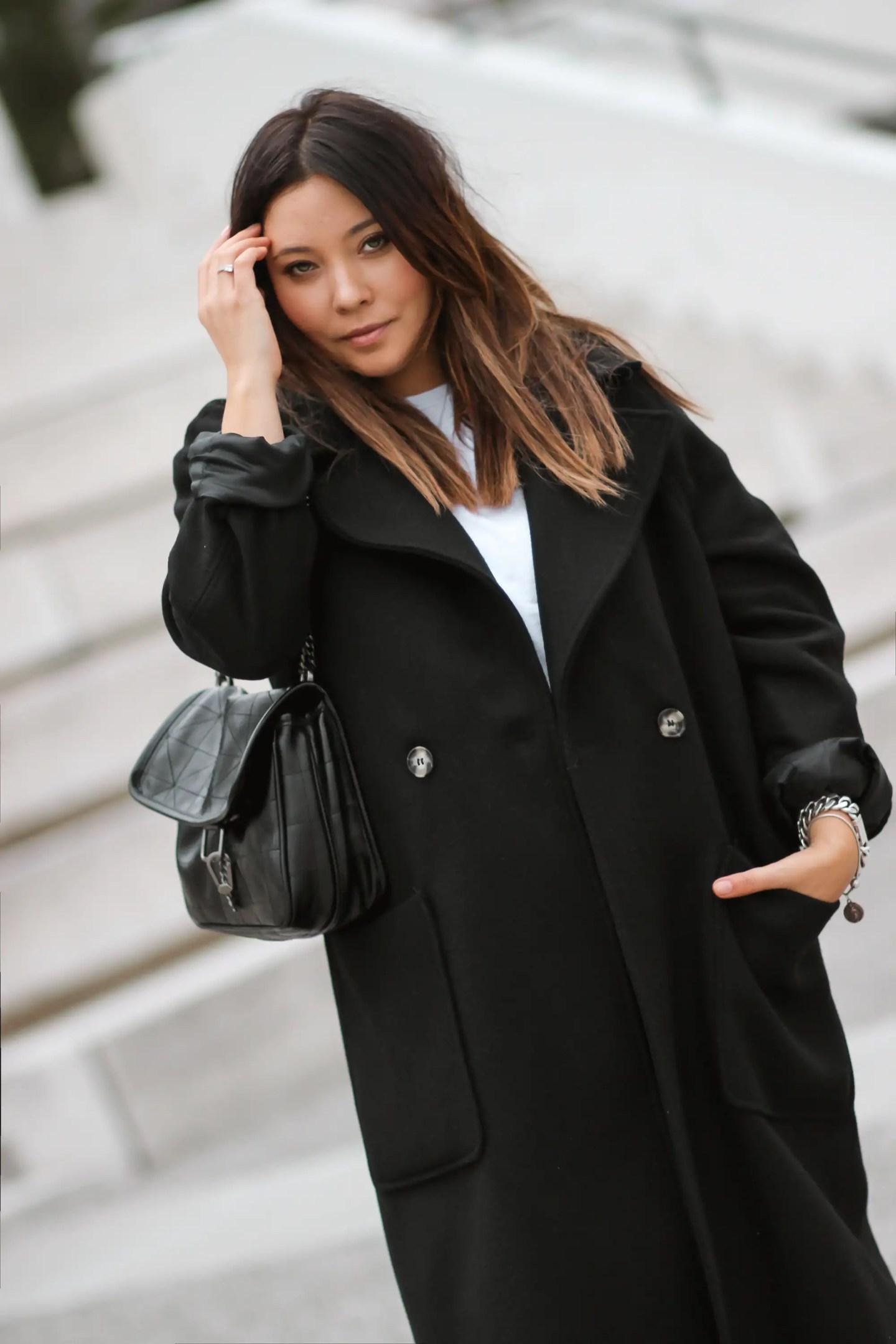 blogueuse mode, manteau noir hm, sac inspi ysl, sac zara, baggy zara, boots inspi isabel marant, bottines hm, bottines western femme, and other stories, bershka, MANTEAU NOIR LOOSE + BAGGY +BOTTINES H&M INSPI #ISABELMARANT