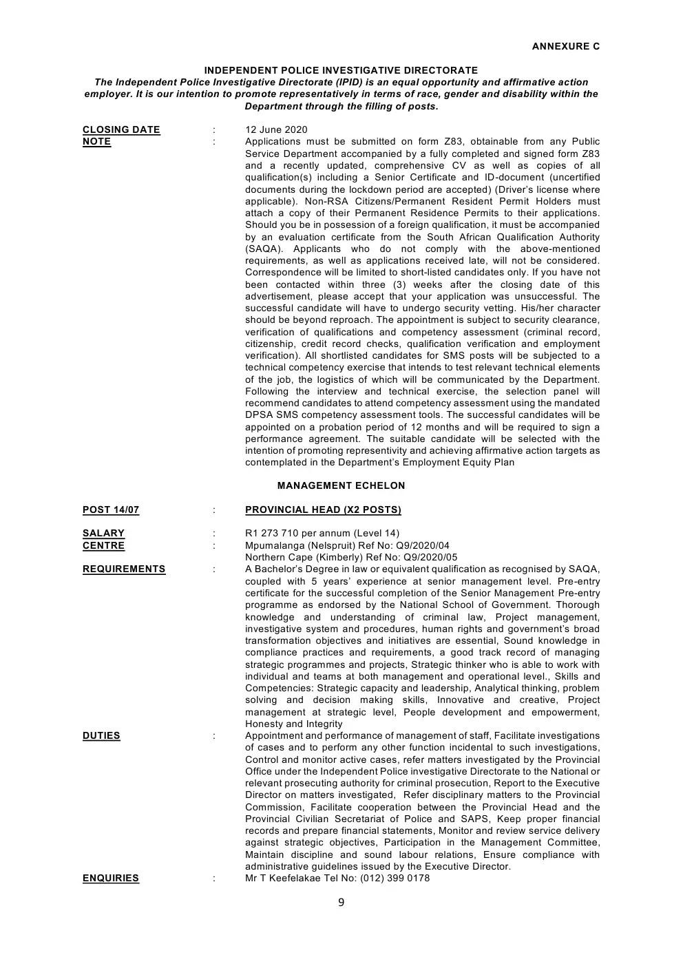 Independent Police Investigative Directorate Circular 14