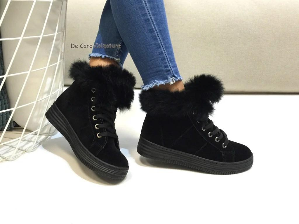 Stivaletti scarponcini donna sneakers con pelliccia