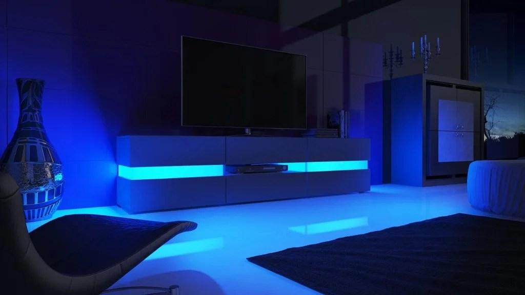 Porta tv laccato bianco o nero Faromobile soggiorno moderno con illumiazione a led
