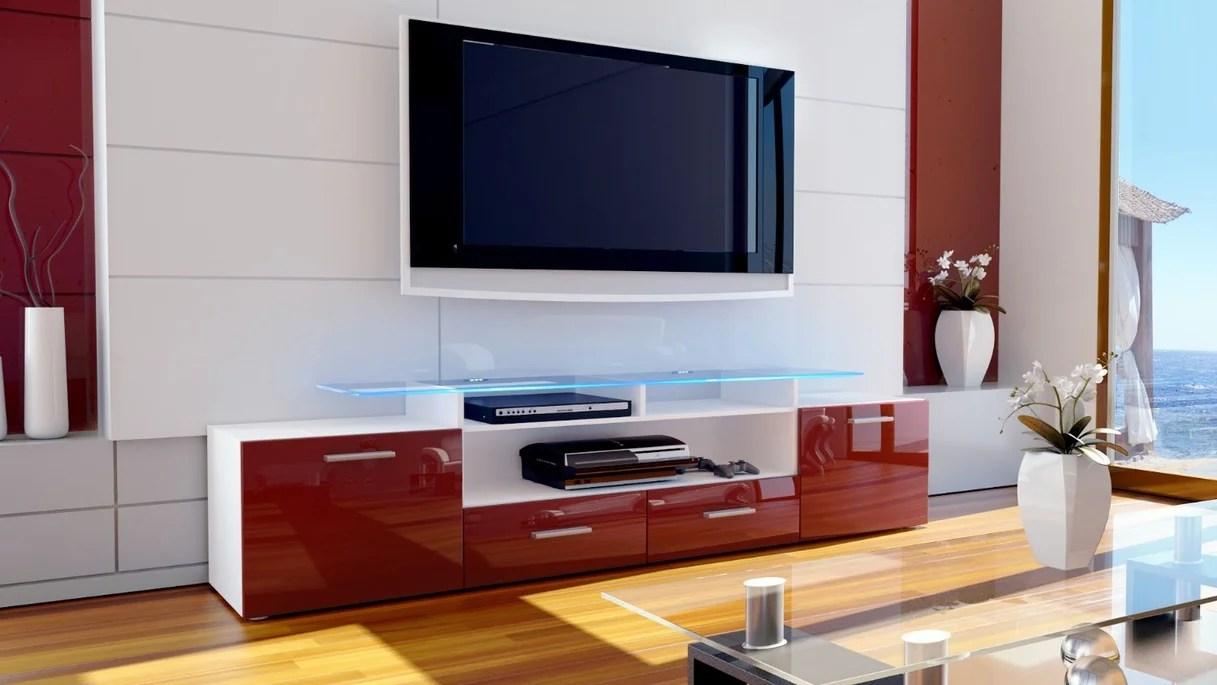 Valentino mobile porta tv bianco bordeaux rosso lucido