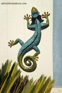 Metal Gecko Wall Decor Garden Art Indoor Outdoor Patio ...