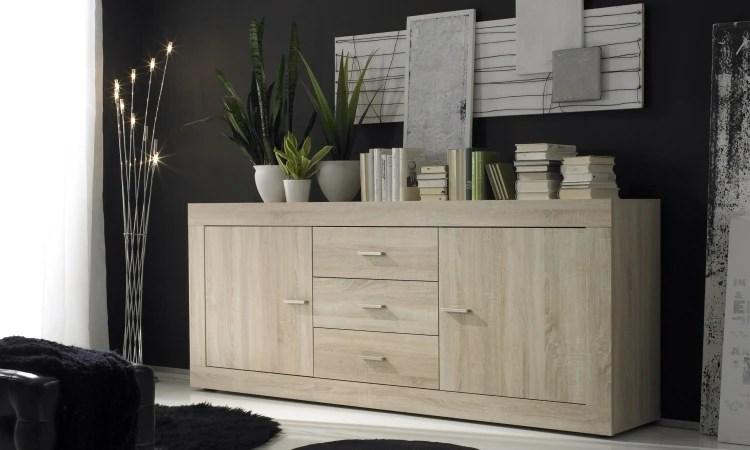 Madia mobile soggiorno moderno Rustica credenza moderna colore rovere con 2 ante e 3 cassetti