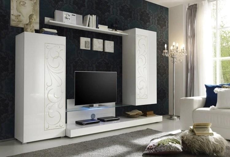 Composizione soggiorno moderno Romantica A1 mobile bianco