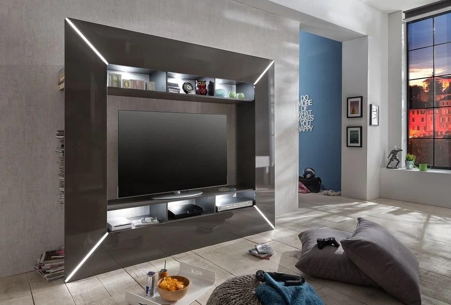 Porta tv moderno Boston mobile soggiorno di designparete porta tv grigio con led  Arredions
