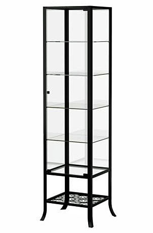 Display Cabinet, Free Standing, Tempered Glass & Black
