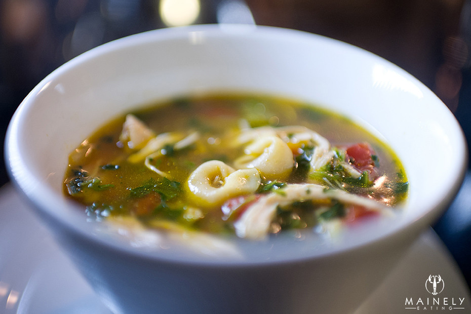 Healthy and hearty get-well chicken soup with tortellini