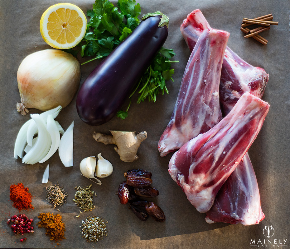 Raw ingredients including Maine lamb shanks for a Moroccan-inspired lamb shank recipe
