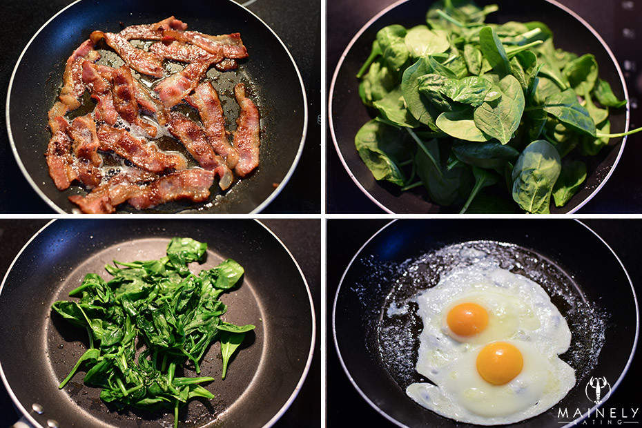 How to make breakfast pizza - crispy bacon, wilted spinach and fried eggs