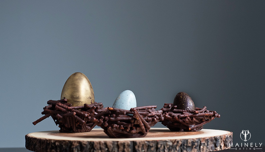 Elegant dark salted chocolate Easter nests
