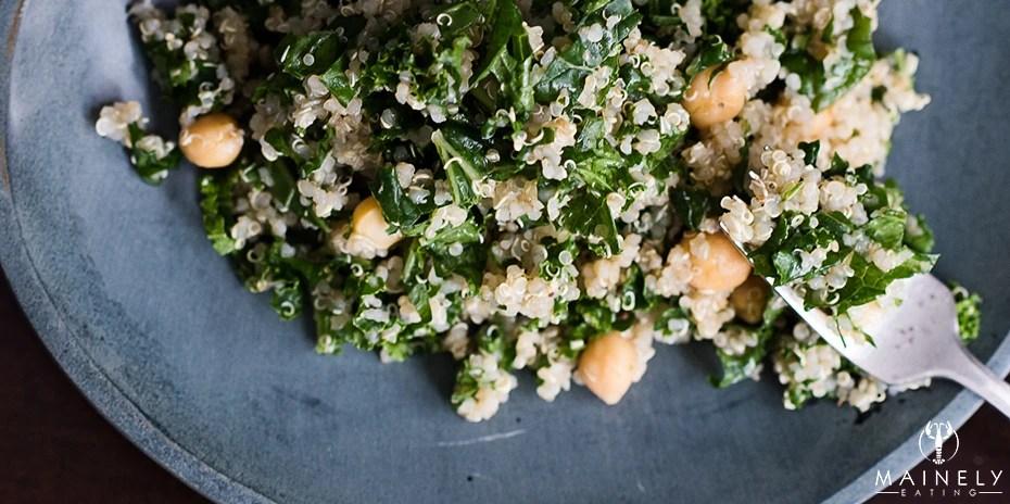 Vegetarian kale, chickpea and lemon quinoa recipe