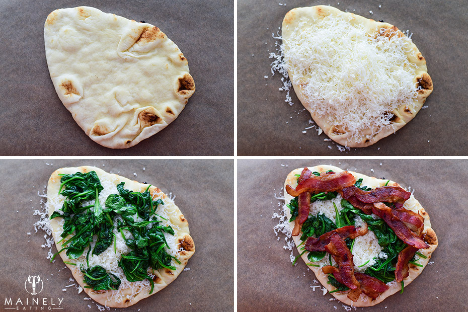 How to make breakfast pizza, layer gruyere cheese, wilted spinach, crispy bacon and top with fried eggs
