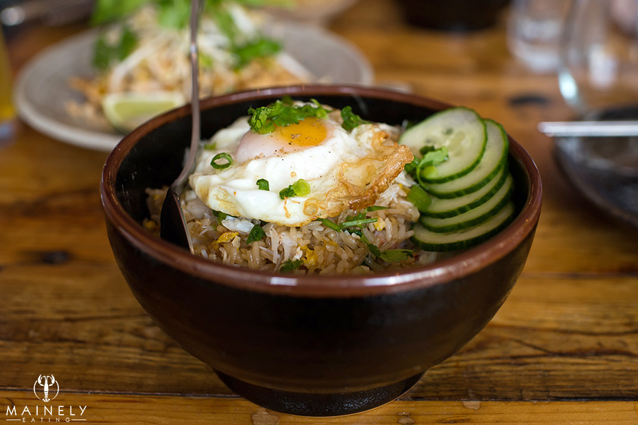 Maine crab fried rice with fried egg at Long Grain by MainelyEating.com