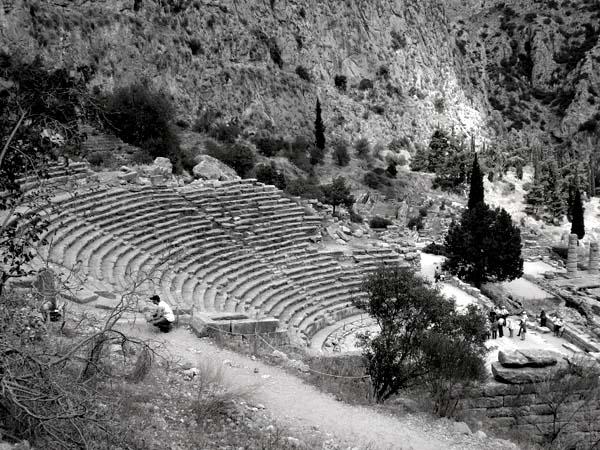 black and white photo of theatre of delos