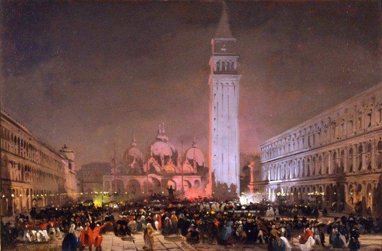 """Ippolito Caffi, """"Venezia: sera di carnevale"""", 1860, Olio su cartoncino intelato, 33,3×51 cm"""