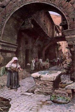 Ettore Roesler Franz, Casa medievale al Portico d'Ottavia in Ghetto, 1880
