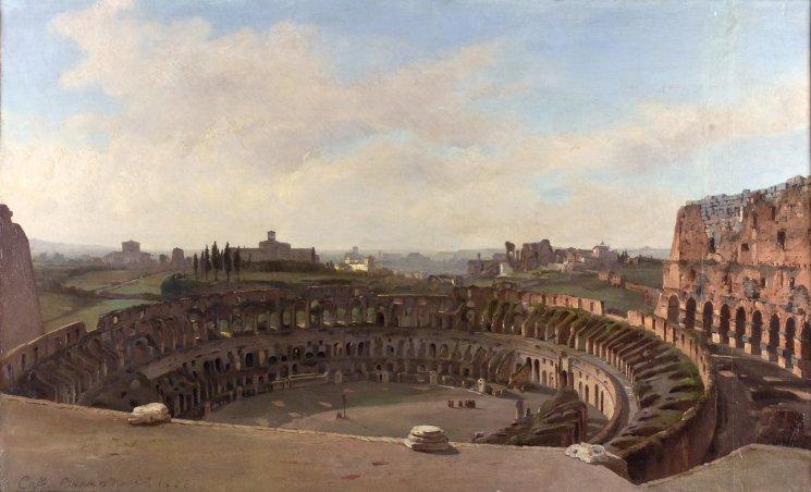 Ippolito Caffi. Interno del Colosseo, 1855. Olio su tela