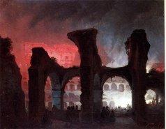 Ippolito Caffi, Veduta notturna dell'interno del Colosseo illuminato da fuochi, olio su tela, cm. 22 x 27