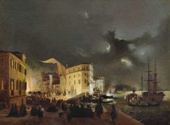 Ippolito Caffi, Festa nottura a S.Pietro di Castello, 1858 circa, Museo civico di Belluno