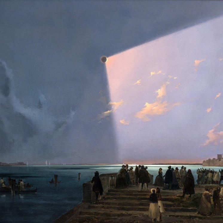 Ippolito Caffi, Eclissi di luna a Venezia, 1842, Collezione privata