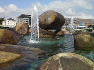 WATER - Horizontal view of the Rock Fountain at the Rock Cathedral, Lekki