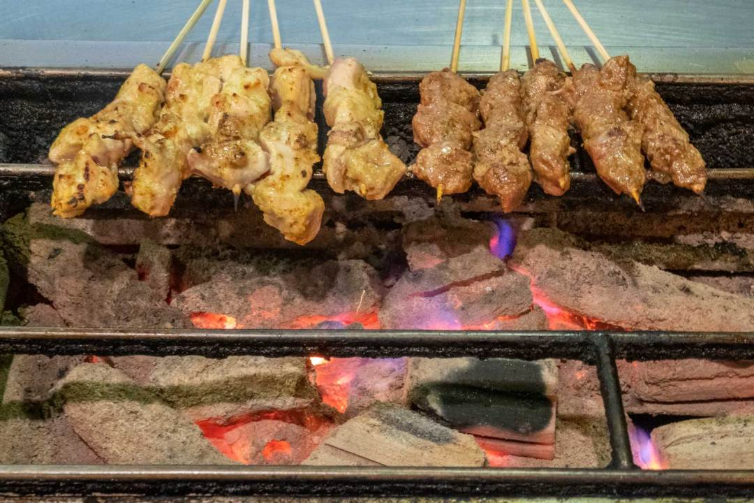 halal satay on coconut shell charcoal at Sate Kampar Philadelphia
