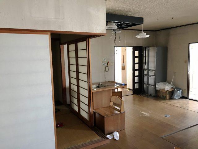 賃貸マンションのリノベーション改装設計、デザインの既設1階リビング