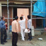 店舗(接骨院)付き住宅の外壁塗り材の打ち合わせ